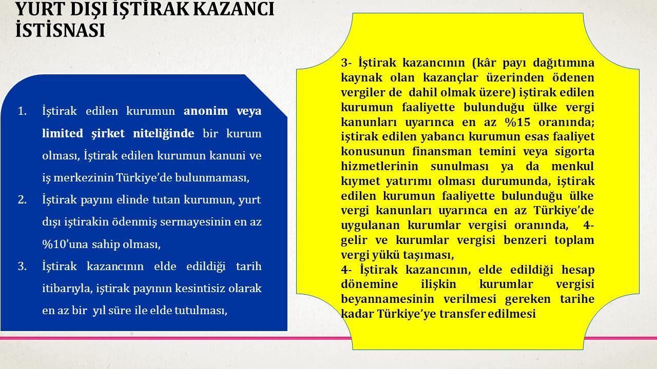 YURT DIŞI İŞTİRAK KAZANCI İSTİSNASI