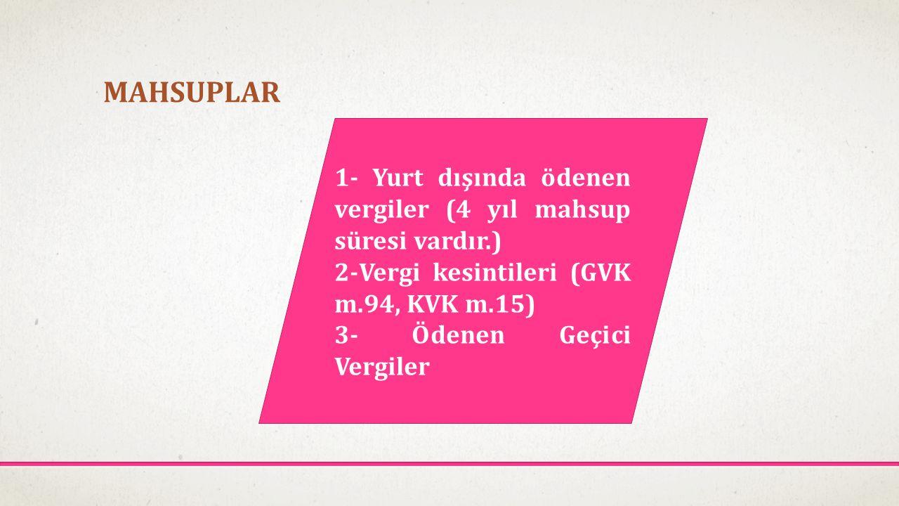 MAHSUPLAR 1- Yurt dışında ödenen vergiler (4 yıl mahsup süresi vardır.) 2-Vergi kesintileri (GVK m.94, KVK m.15)