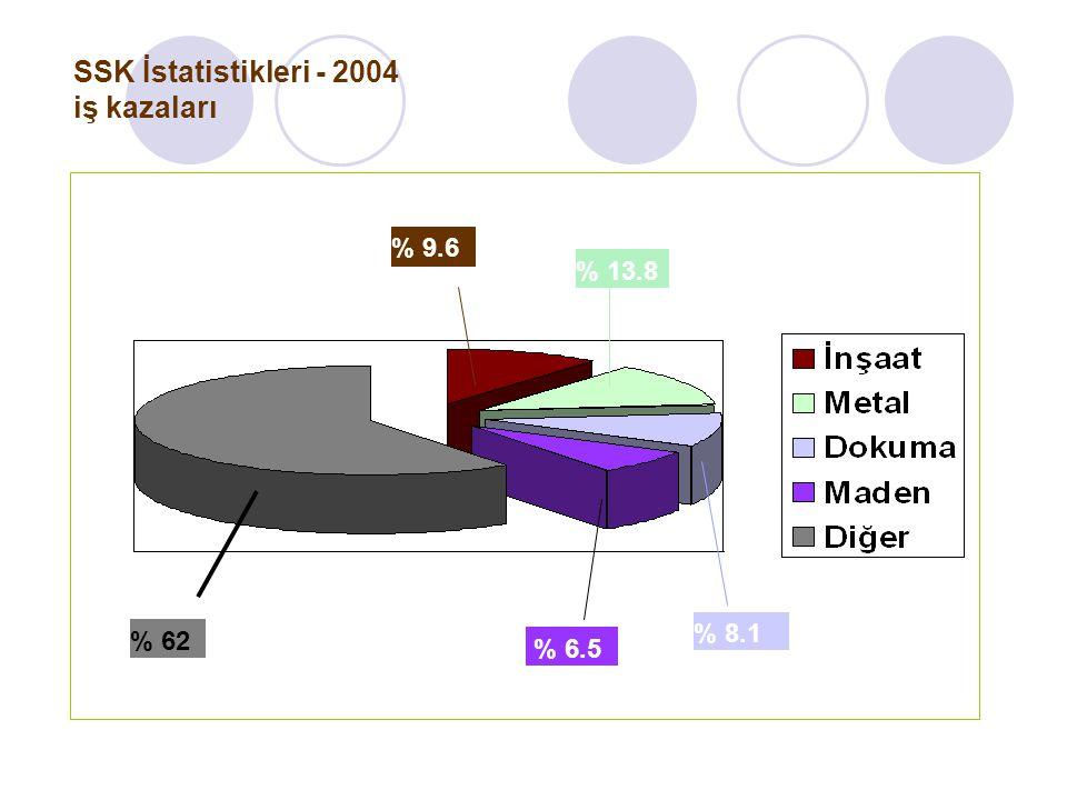 SSK İstatistikleri - 2004 iş kazaları
