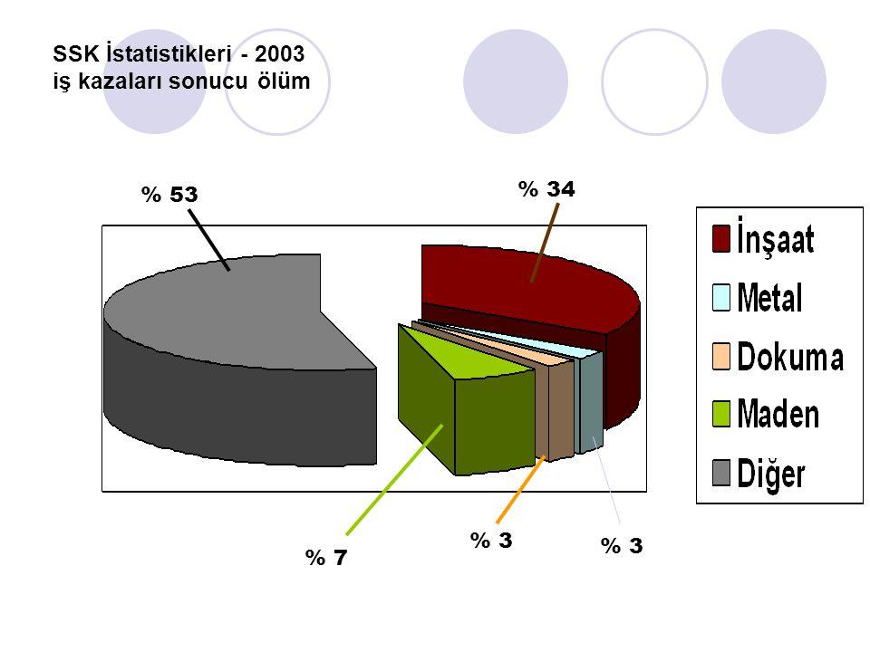 SSK İstatistikleri - 2003 iş kazaları sonucu ölüm