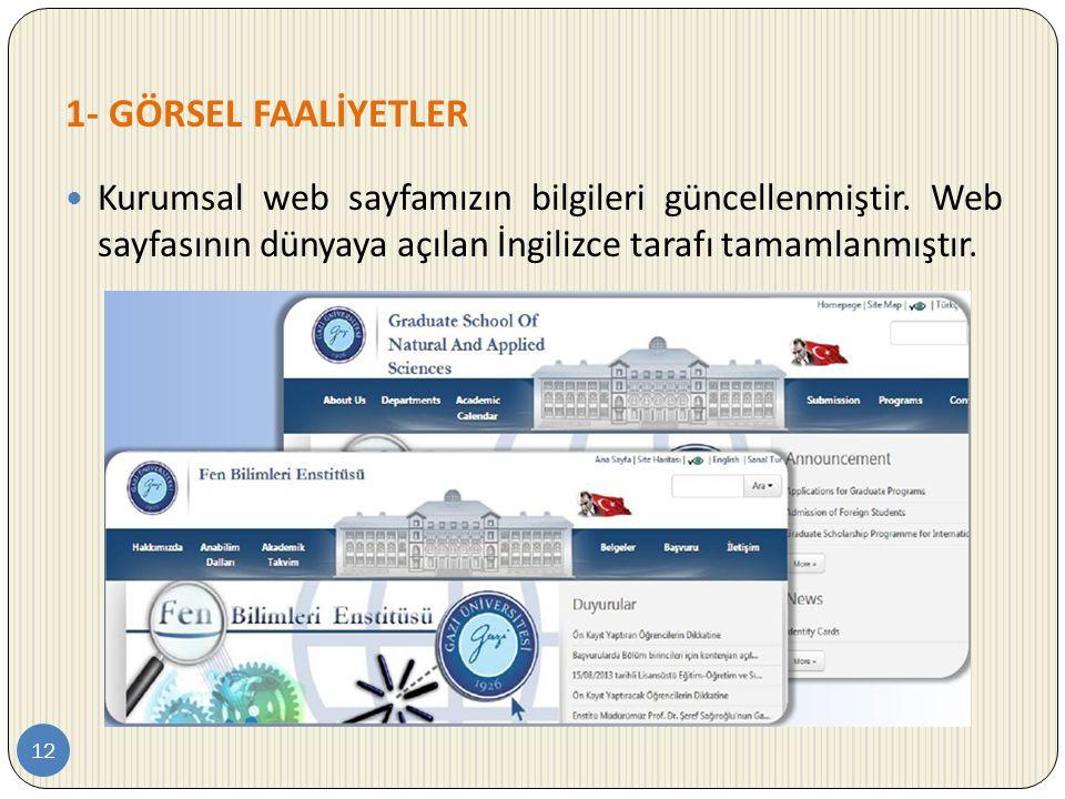 1- GÖRSEL FAALİYETLER Kurumsal web sayfamızın bilgileri güncellenmiştir.