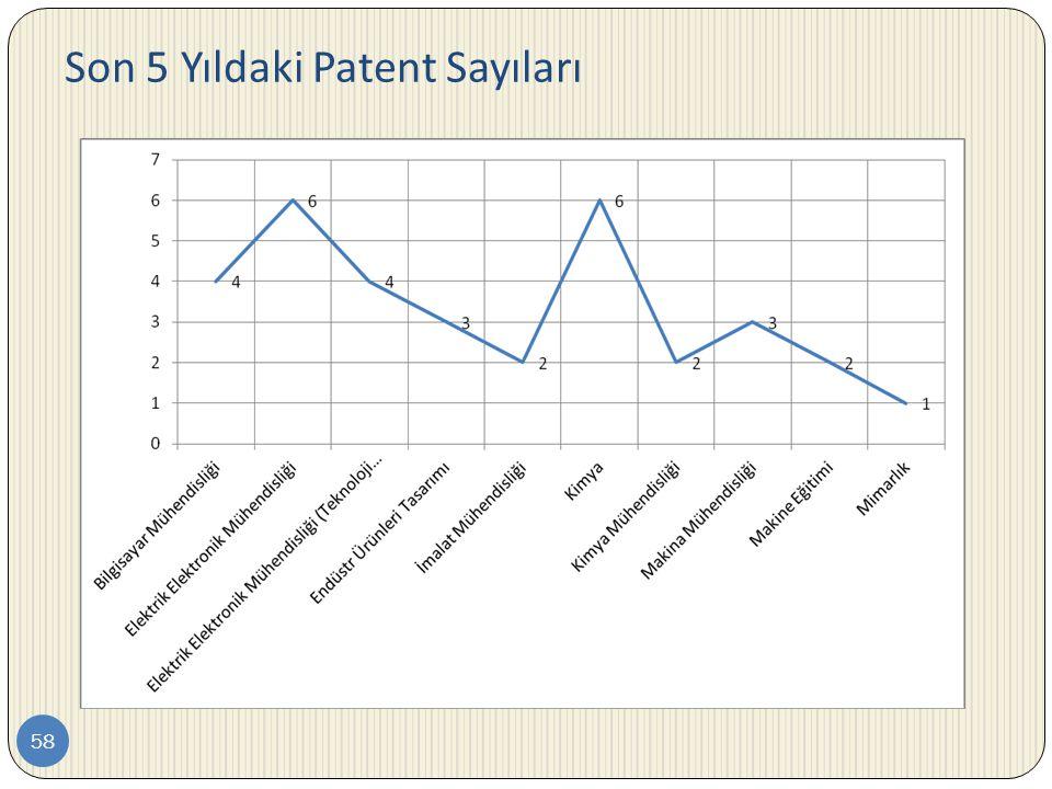 Son 5 Yıldaki Patent Sayıları