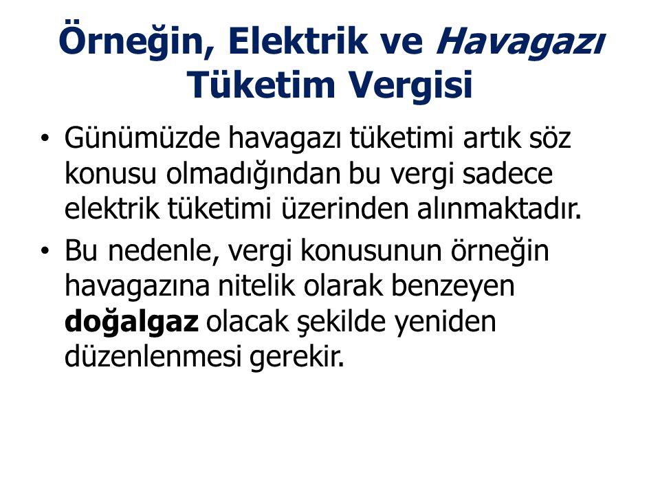 Örneğin, Elektrik ve Havagazı Tüketim Vergisi