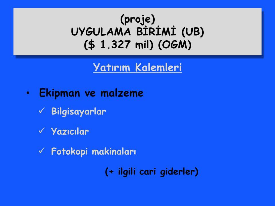 (proje) UYGULAMA BİRİMİ (UB) ($ 1.327 mil) (OGM)