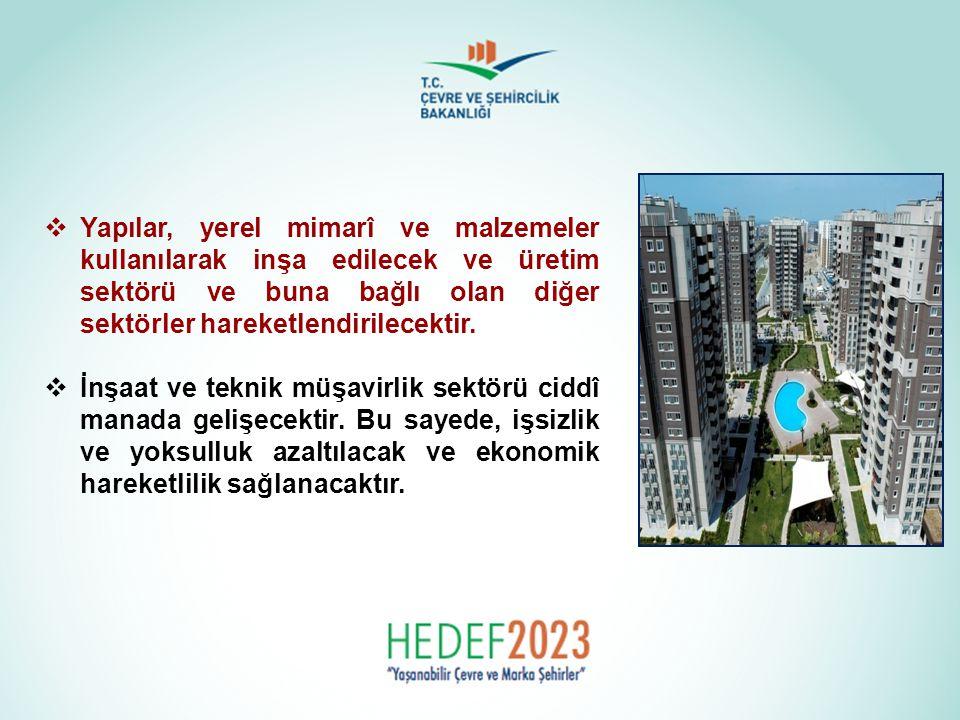 Yapılar, yerel mimarî ve malzemeler kullanılarak inşa edilecek ve üretim sektörü ve buna bağlı olan diğer sektörler hareketlendirilecektir.
