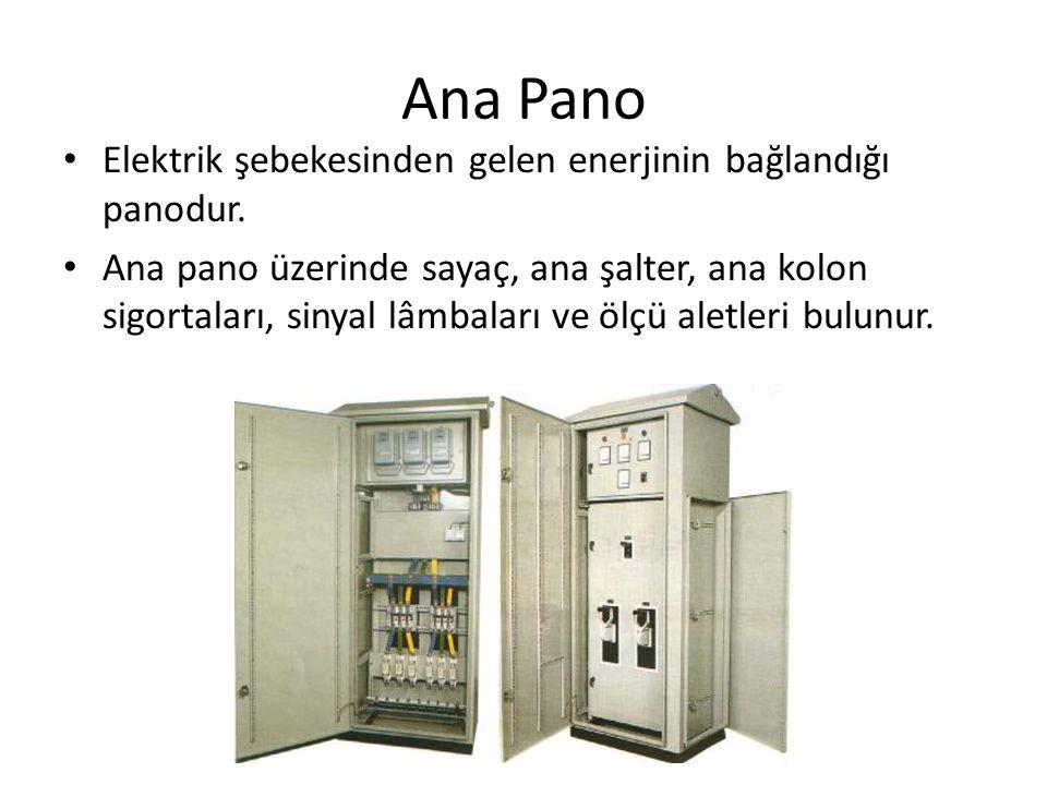 Ana Pano Elektrik şebekesinden gelen enerjinin bağlandığı panodur.