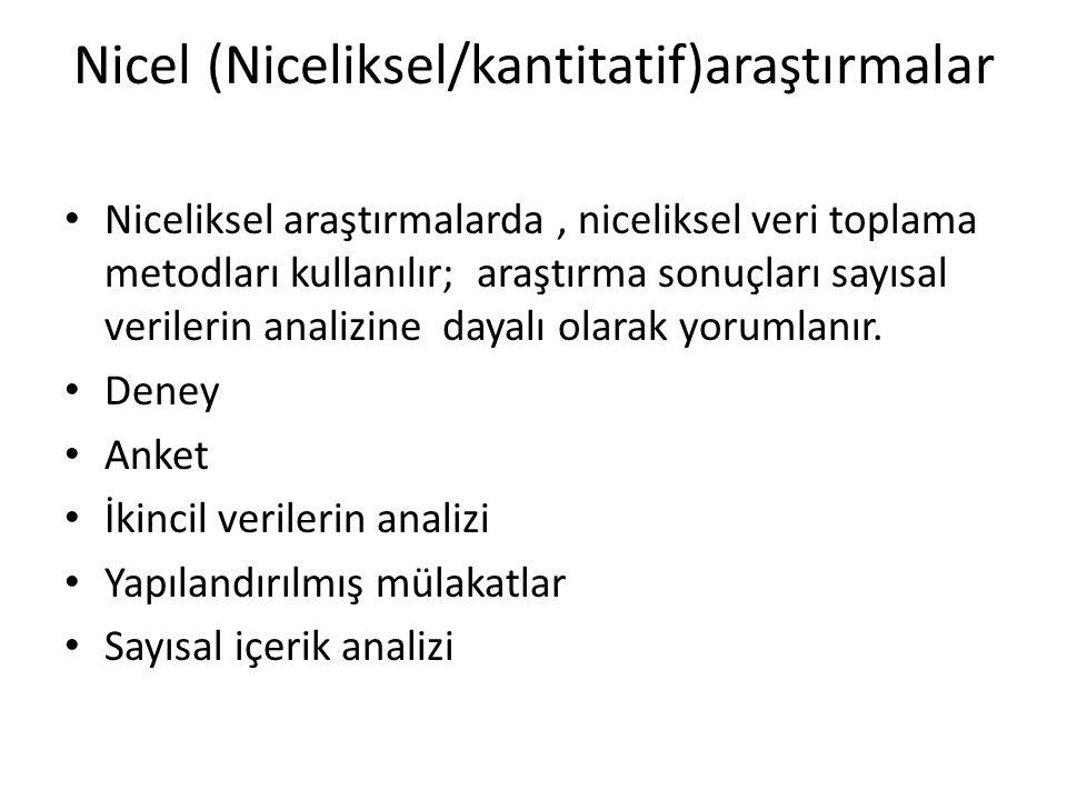 Nicel (Niceliksel/kantitatif)araştırmalar