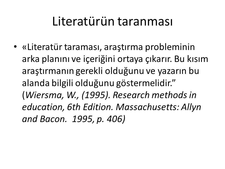 Literatürün taranması