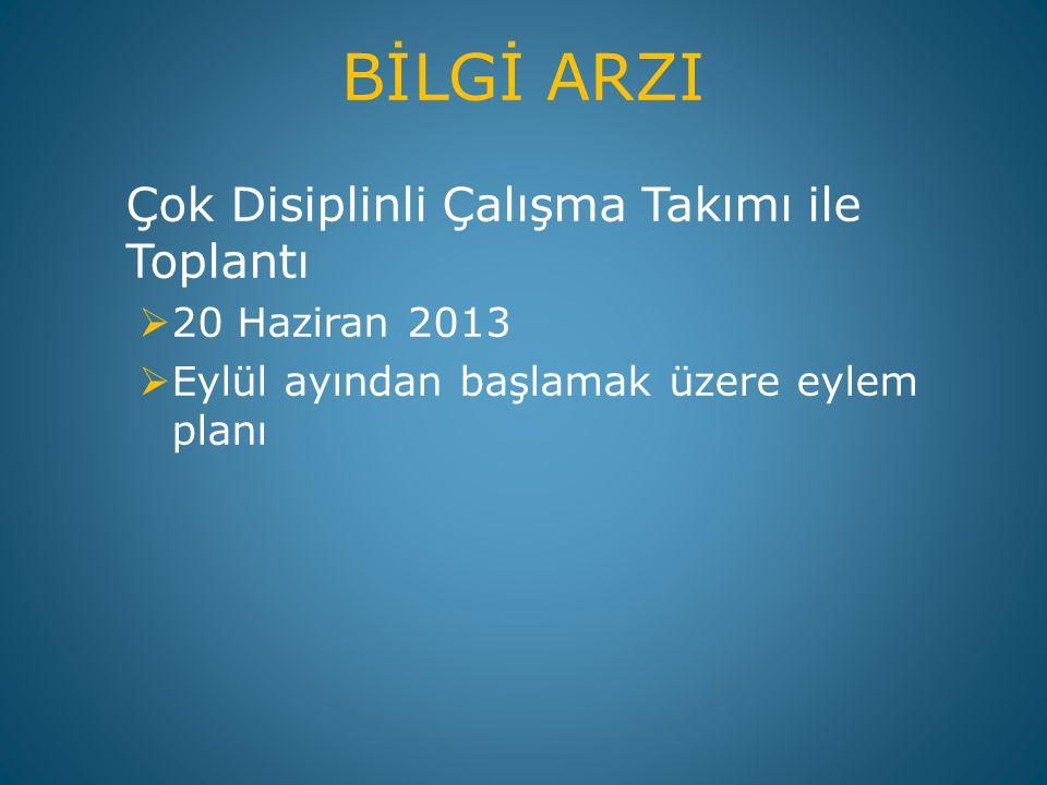 BİLGİ ARZI Çok Disiplinli Çalışma Takımı ile Toplantı 20 Haziran 2013