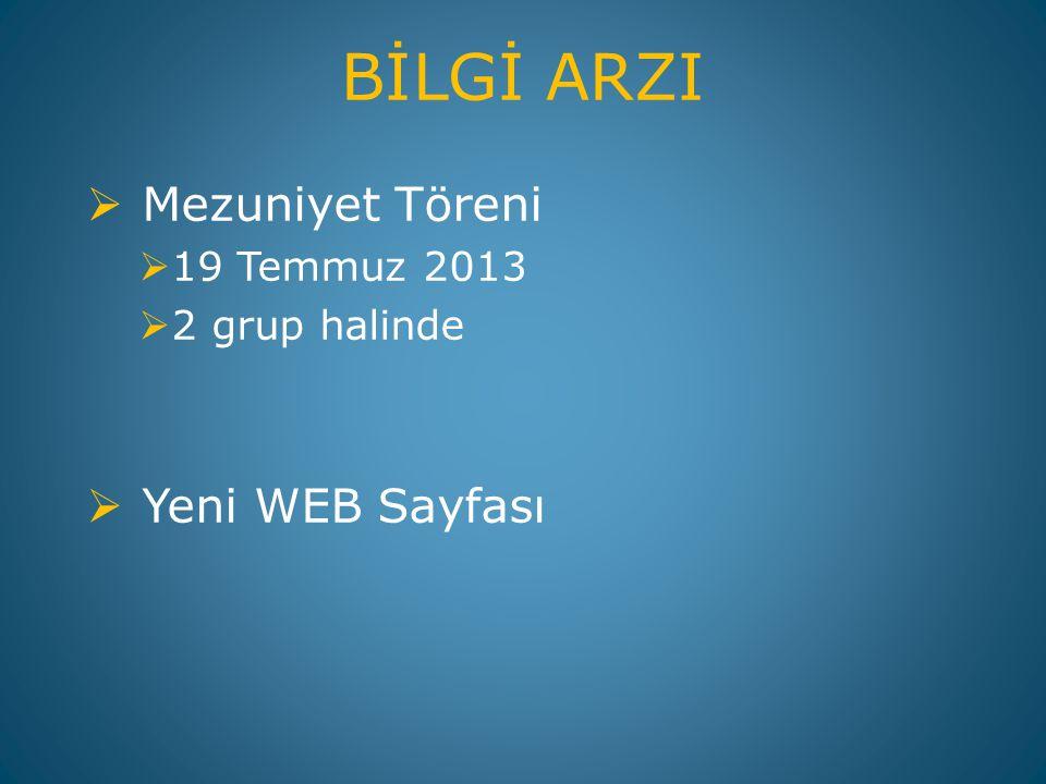 BİLGİ ARZI Mezuniyet Töreni Yeni WEB Sayfası 19 Temmuz 2013