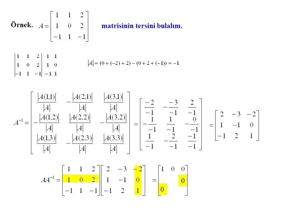 Örnek. matrisinin tersini bulalım.