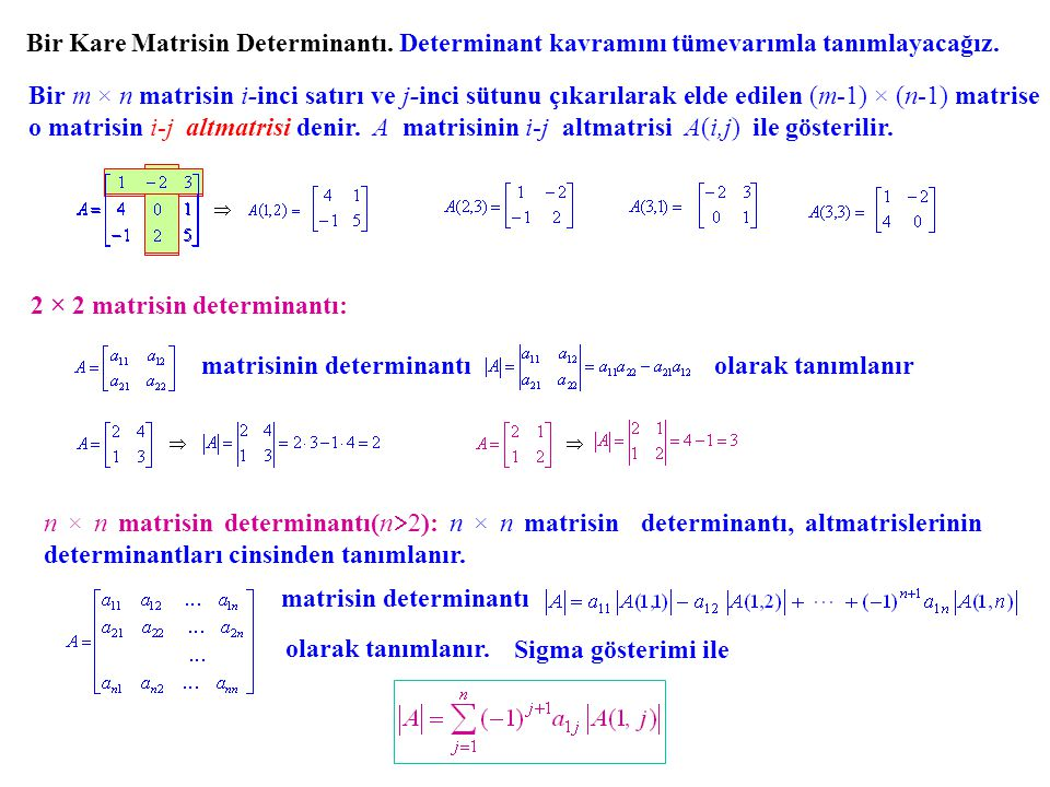Bir Kare Matrisin Determinantı