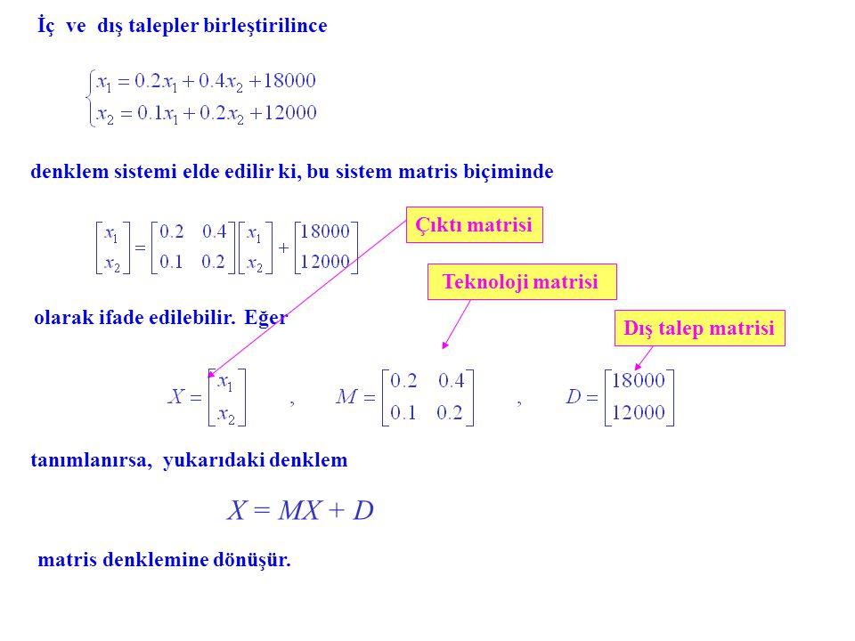 X = MX + D İç ve dış talepler birleştirilince