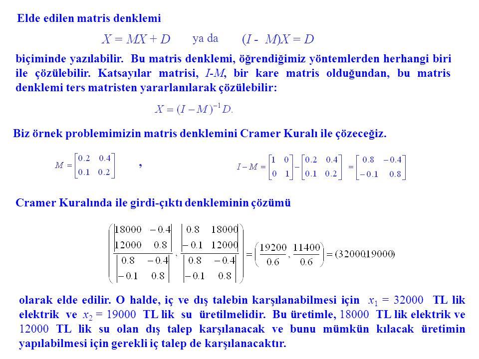 X = MX + D (I - M)X = D , Elde edilen matris denklemi ya da