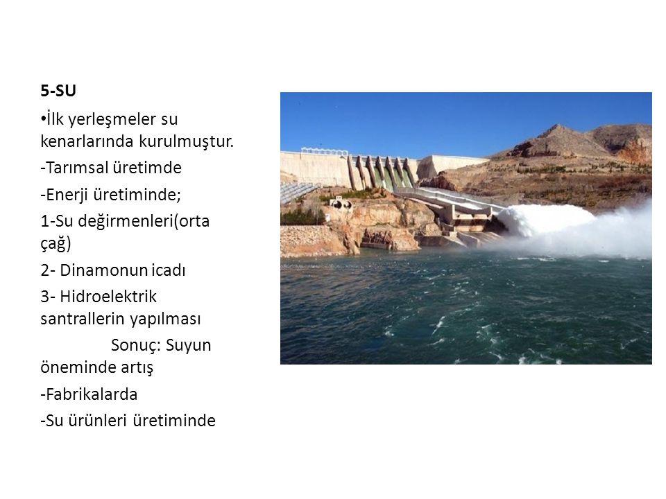 5-SU İlk yerleşmeler su kenarlarında kurulmuştur. Tarımsal üretimde. Enerji üretiminde; 1-Su değirmenleri(orta çağ)