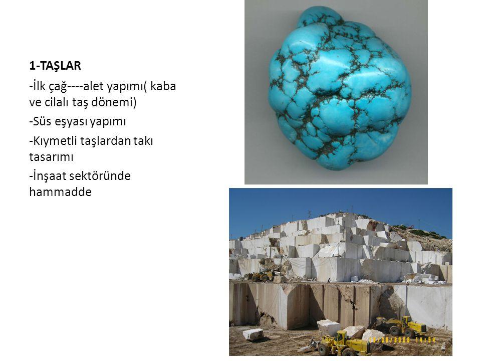 1-TAŞLAR -İlk çağ----alet yapımı( kaba ve cilalı taş dönemi) -Süs eşyası yapımı. -Kıymetli taşlardan takı tasarımı.
