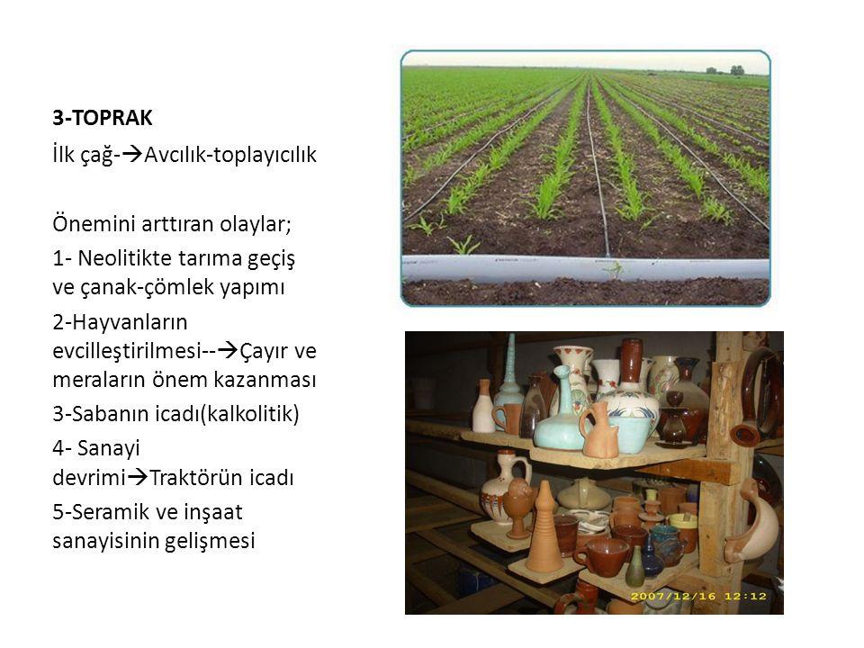 3-TOPRAK İlk çağ-Avcılık-toplayıcılık. Önemini arttıran olaylar; 1- Neolitikte tarıma geçiş ve çanak-çömlek yapımı.