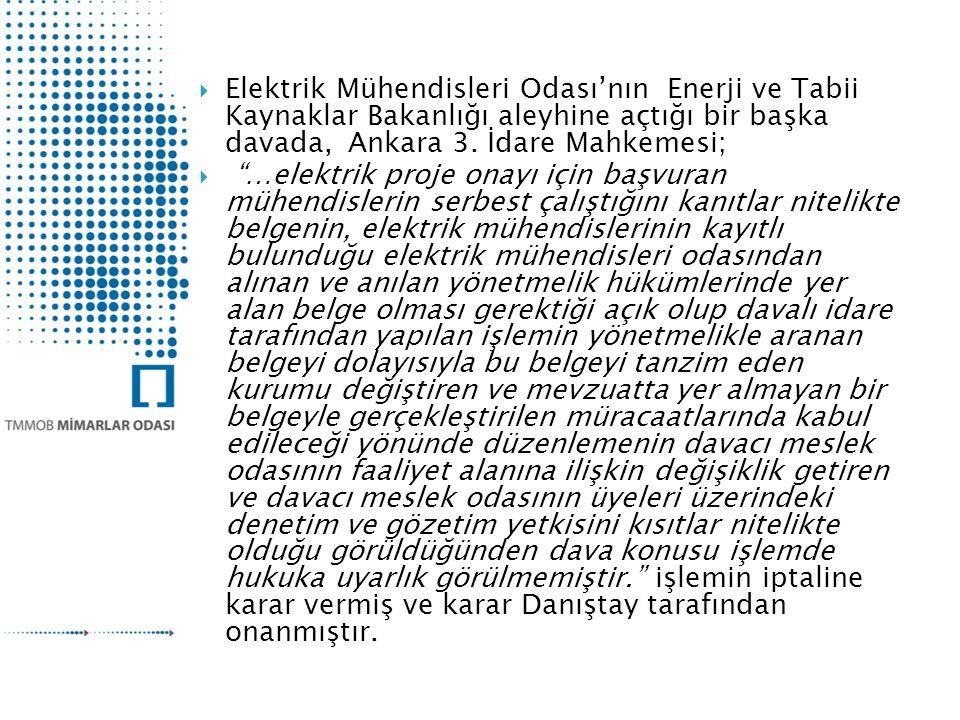 Elektrik Mühendisleri Odası'nın Enerji ve Tabii Kaynaklar Bakanlığı aleyhine açtığı bir başka davada, Ankara 3. İdare Mahkemesi;