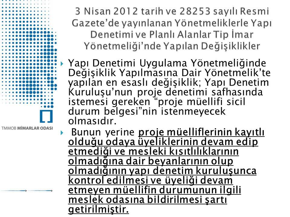 3 Nisan 2012 tarih ve 28253 sayılı Resmi Gazete'de yayınlanan Yönetmeliklerle Yapı Denetimi ve Planlı Alanlar Tip İmar Yönetmeliği'nde Yapılan Değişiklikler