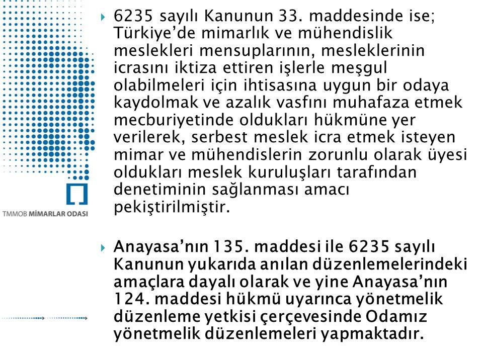 6235 sayılı Kanunun 33. maddesinde ise; Türkiye'de mimarlık ve mühendislik meslekleri mensuplarının, mesleklerinin icrasını iktiza ettiren işlerle meşgul olabilmeleri için ihtisasına uygun bir odaya kaydolmak ve azalık vasfını muhafaza etmek mecburiyetinde oldukları hükmüne yer verilerek, serbest meslek icra etmek isteyen mimar ve mühendislerin zorunlu olarak üyesi oldukları meslek kuruluşları tarafından denetiminin sağlanması amacı pekiştirilmiştir.