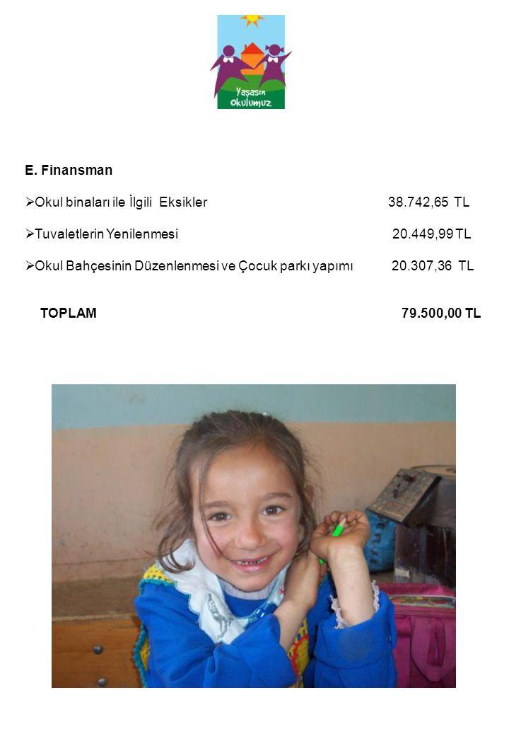 E. Finansman Okul binaları ile İlgili Eksikler 38.742,65 TL.