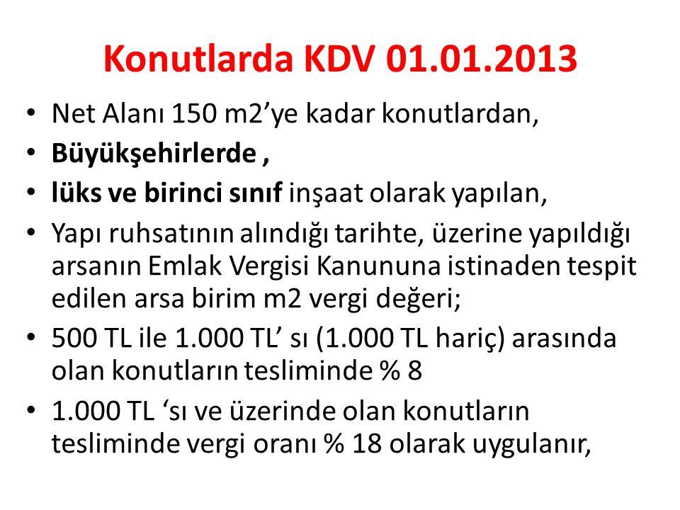 Konutlarda KDV 01.01.2013 Net Alanı 150 m2'ye kadar konutlardan,