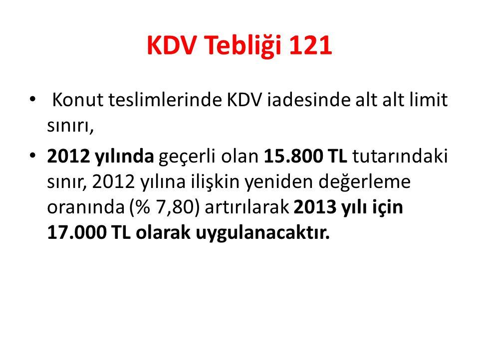 KDV Tebliği 121 Konut teslimlerinde KDV iadesinde alt alt limit sınırı,
