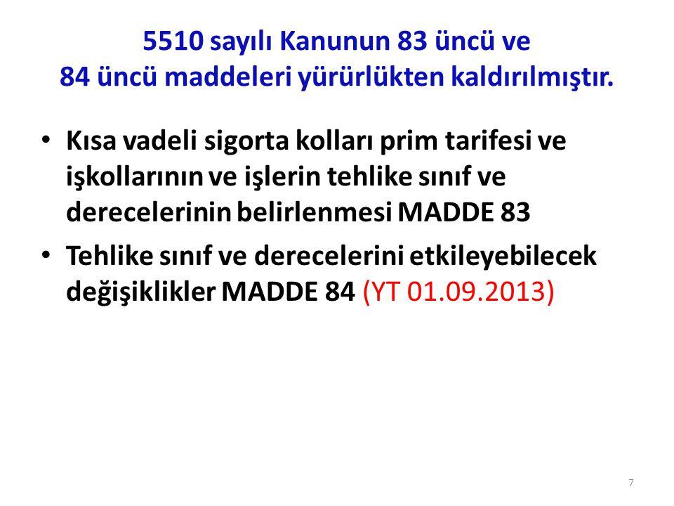 5510 sayılı Kanunun 83 üncü ve 84 üncü maddeleri yürürlükten kaldırılmıştır.