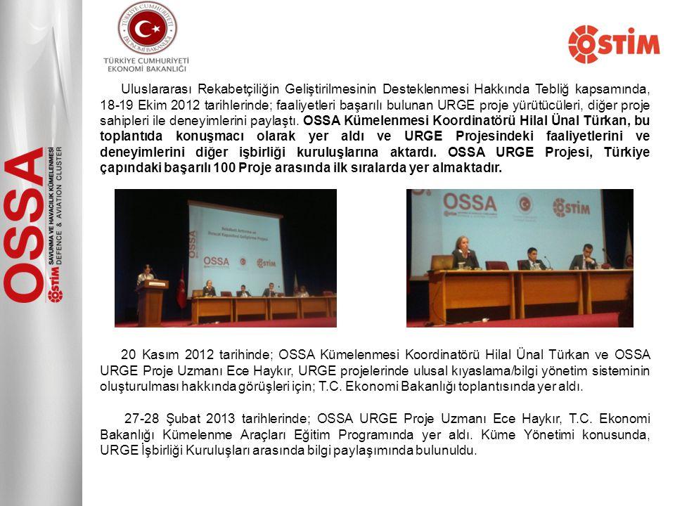 Uluslararası Rekabetçiliğin Geliştirilmesinin Desteklenmesi Hakkında Tebliğ kapsamında, 18-19 Ekim 2012 tarihlerinde; faaliyetleri başarılı bulunan URGE proje yürütücüleri, diğer proje sahipleri ile deneyimlerini paylaştı. OSSA Kümelenmesi Koordinatörü Hilal Ünal Türkan, bu toplantıda konuşmacı olarak yer aldı ve URGE Projesindeki faaliyetlerini ve deneyimlerini diğer işbirliği kuruluşlarına aktardı. OSSA URGE Projesi, Türkiye çapındaki başarılı 100 Proje arasında ilk sıralarda yer almaktadır.