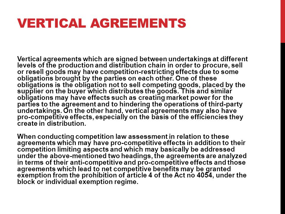 Vertical agreements