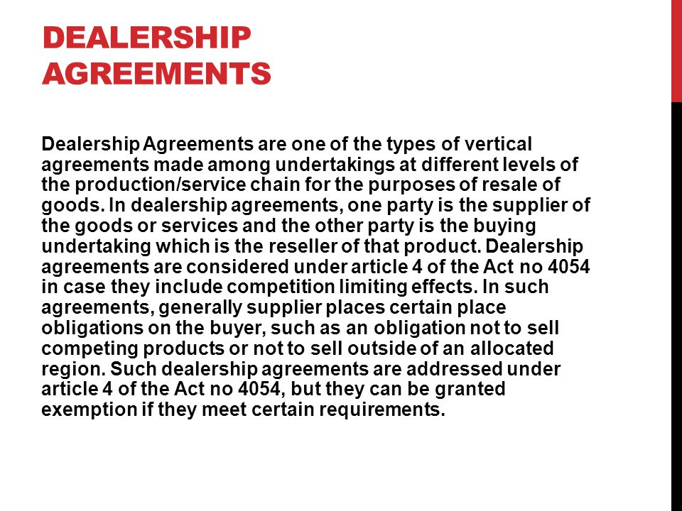Dealership Agreements