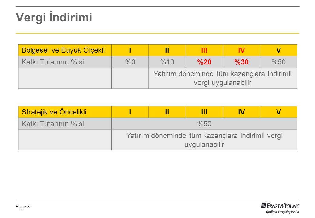 Vergi İndirimi Bölgesel ve Büyük Ölçekli I II III IV V