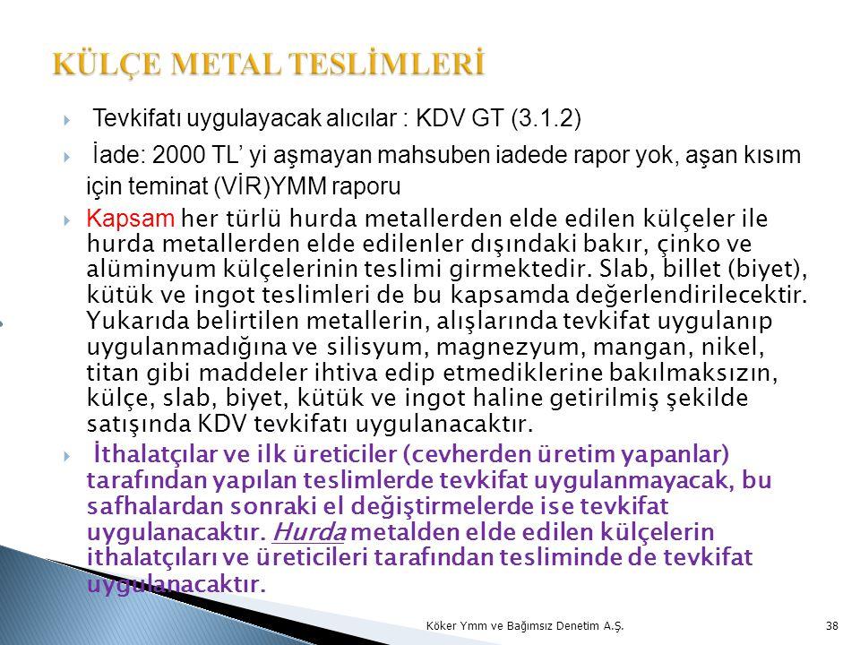 KÜLÇE METAL TESLİMLERİ