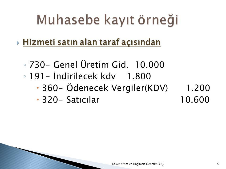 Muhasebe kayıt örneği 730- Genel Üretim Gid. 10.000