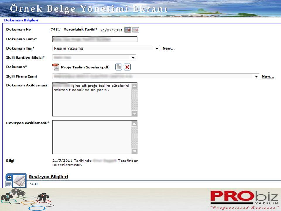 Örnek Belge Yönetimi Ekranı