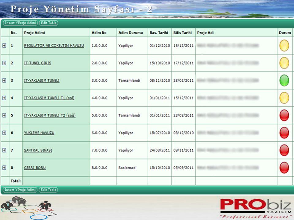 Proje Yönetim Sayfası - 2