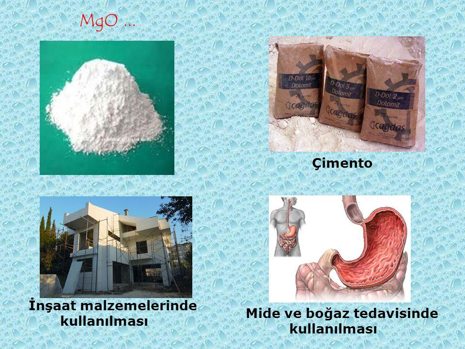 MgO ... Çimento İnşaat malzemelerinde kullanılması