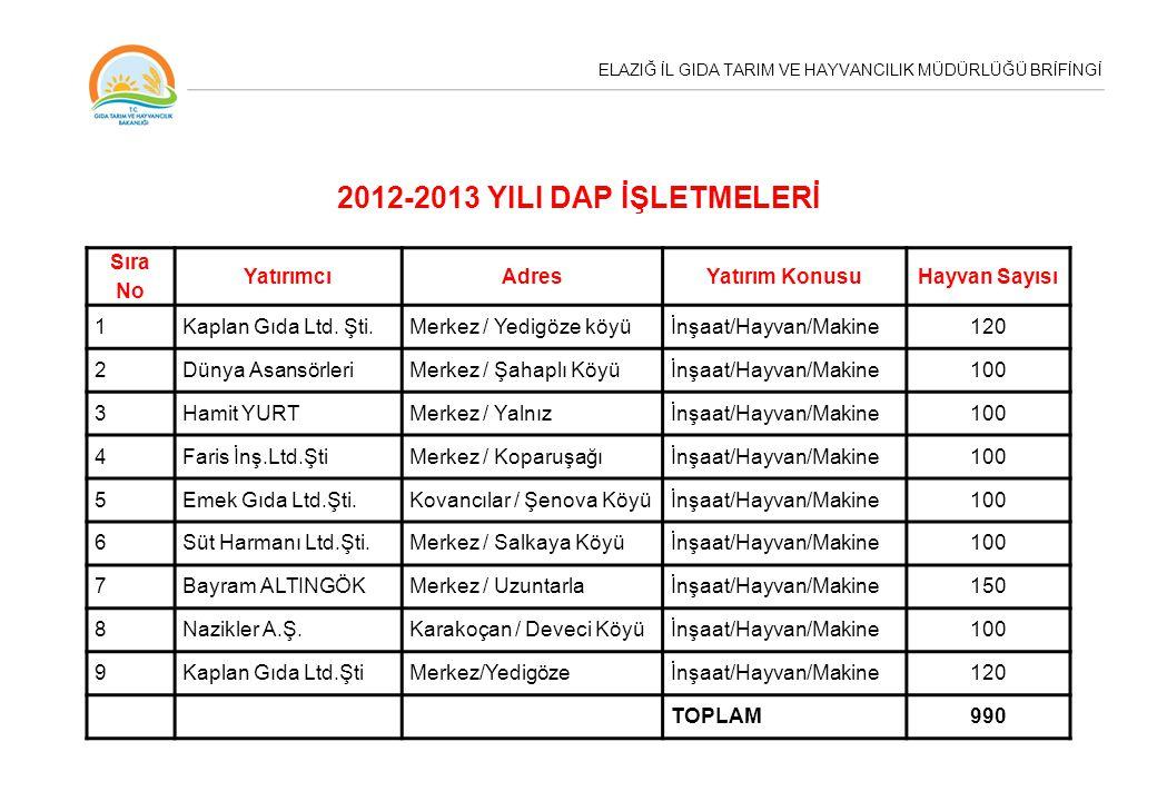 2012-2013 YILI DAP İŞLETMELERİ Sıra No Yatırımcı Adres Yatırım Konusu