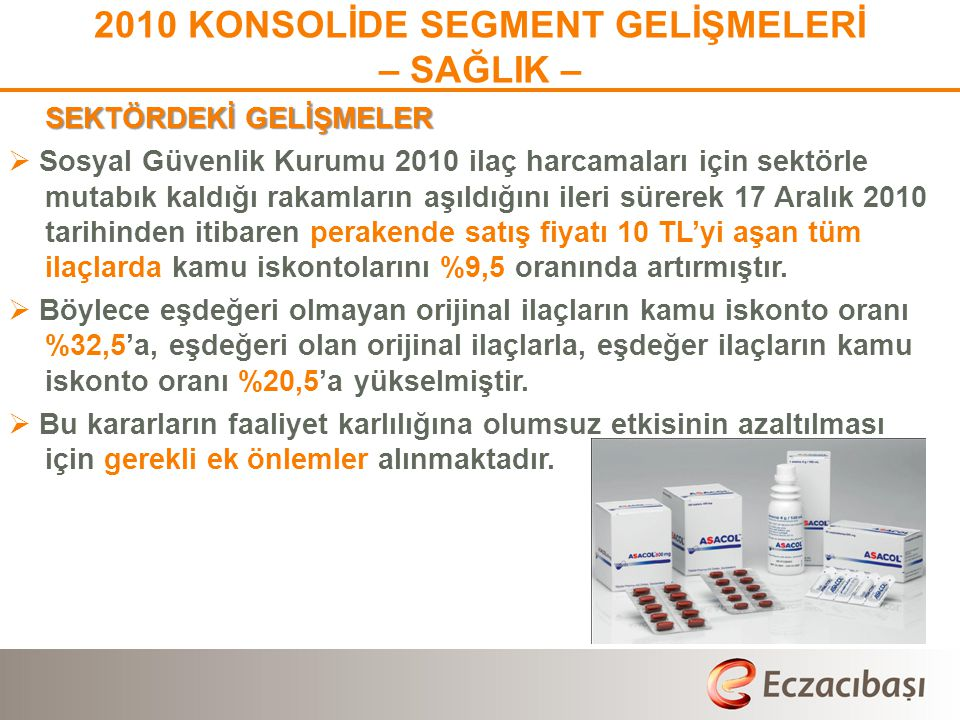 2010 KONSOLİDE SEGMENT GELİŞMELERİ
