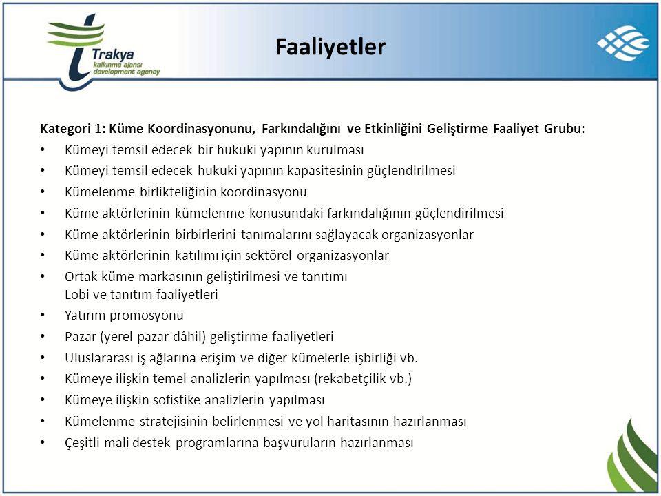 Faaliyetler Kategori 1: Küme Koordinasyonunu, Farkındalığını ve Etkinliğini Geliştirme Faaliyet Grubu: