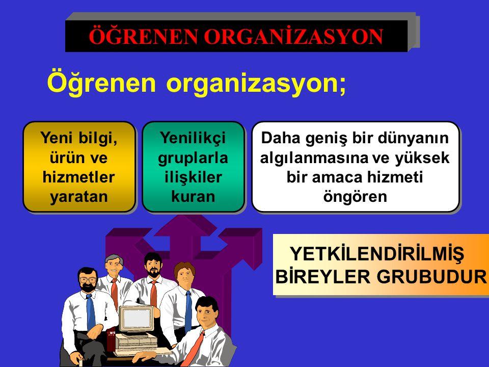 Öğrenen organizasyon; ürün ve hizmetler yaratan