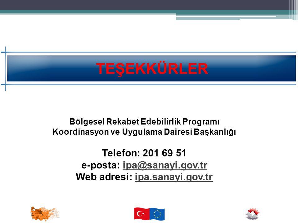 TEŞEKKÜRLER Telefon: 201 69 51 e-posta: ipa@sanayi.gov.tr