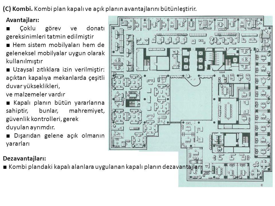 (C) Kombi. Kombi plan kapalı ve açık planın avantajlarını bütünleştirir.