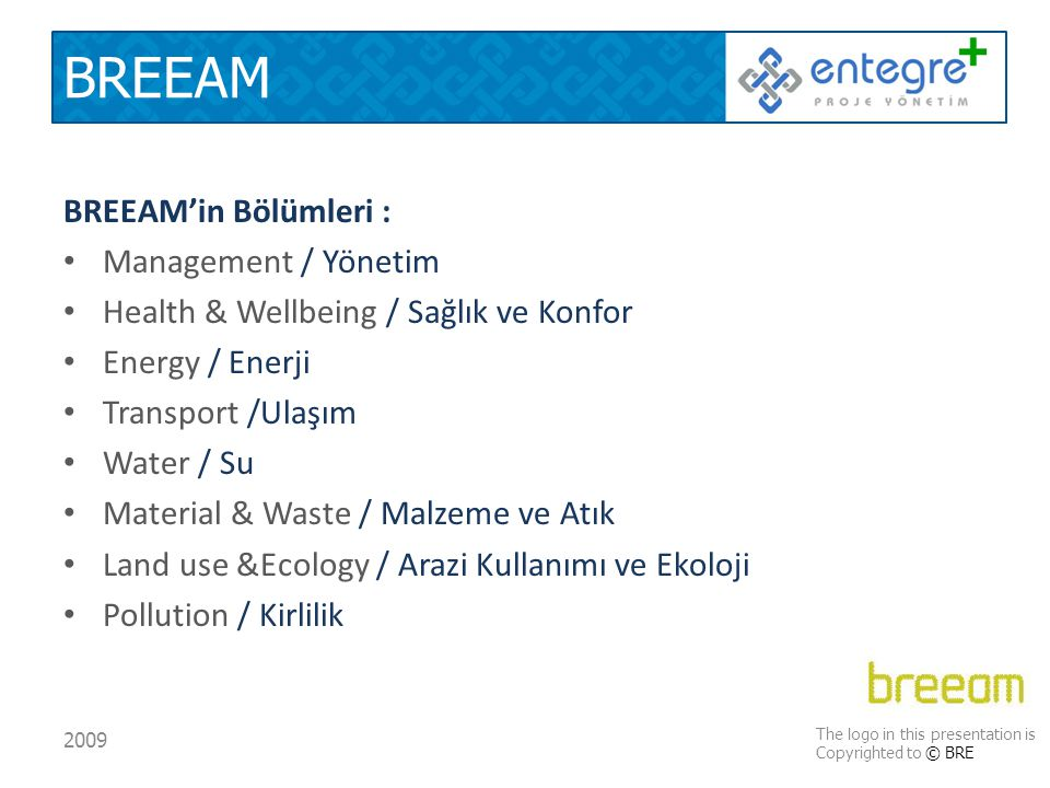 BREEAM BREEAM'in Bölümleri : Management / Yönetim