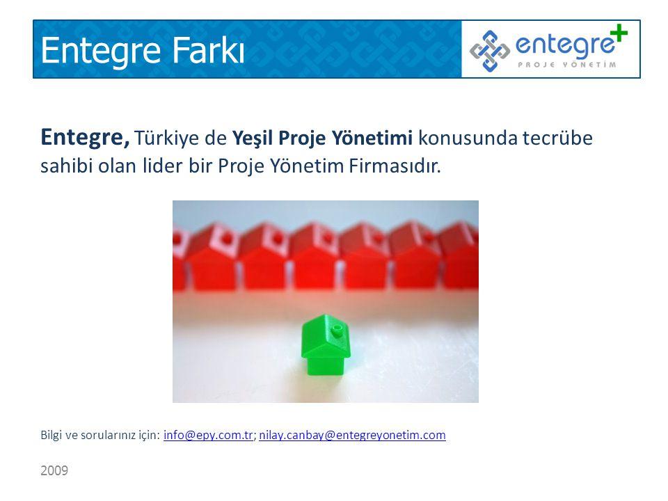 Entegre Farkı Entegre, Türkiye de Yeşil Proje Yönetimi konusunda tecrübe sahibi olan lider bir Proje Yönetim Firmasıdır.