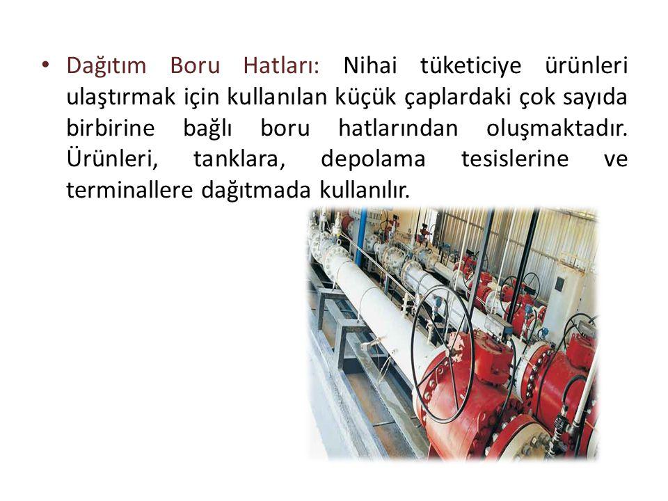 Dağıtım Boru Hatları: Nihai tüketiciye ürünleri ulaştırmak için kullanılan küçük çaplardaki çok sayıda birbirine bağlı boru hatlarından oluşmaktadır.