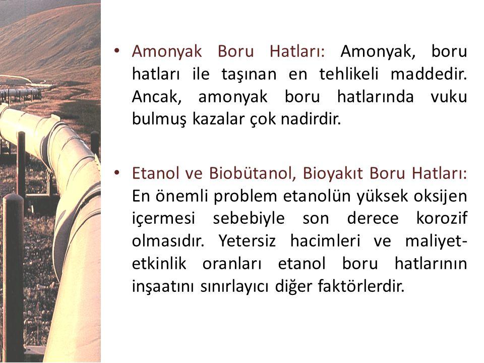 Amonyak Boru Hatları: Amonyak, boru hatları ile taşınan en tehlikeli maddedir. Ancak, amonyak boru hatlarında vuku bulmuş kazalar çok nadirdir.