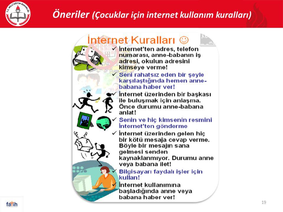 Öneriler (Çocuklar için internet kullanım kuralları)