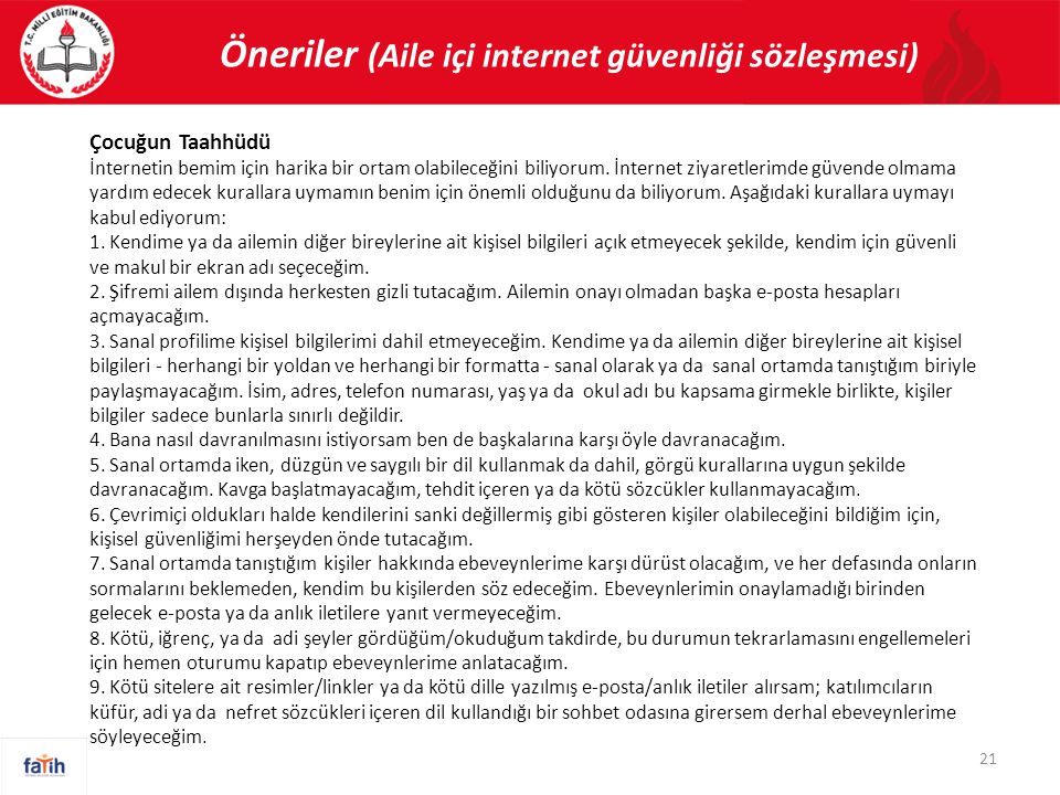 Öneriler (Aile içi internet güvenliği sözleşmesi)