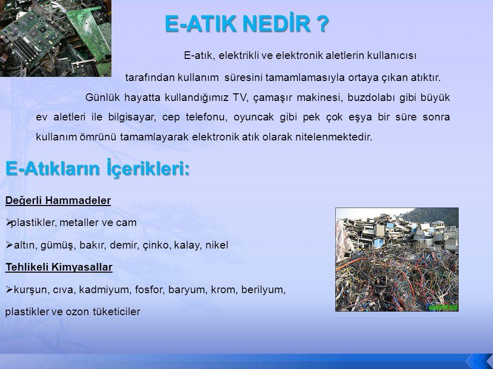 E-ATIK NEDİR E-Atıkların İçerikleri: